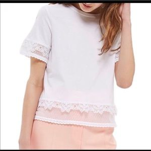 Topshop White T-shirt Lace and Embroidery Sz 8 NWT